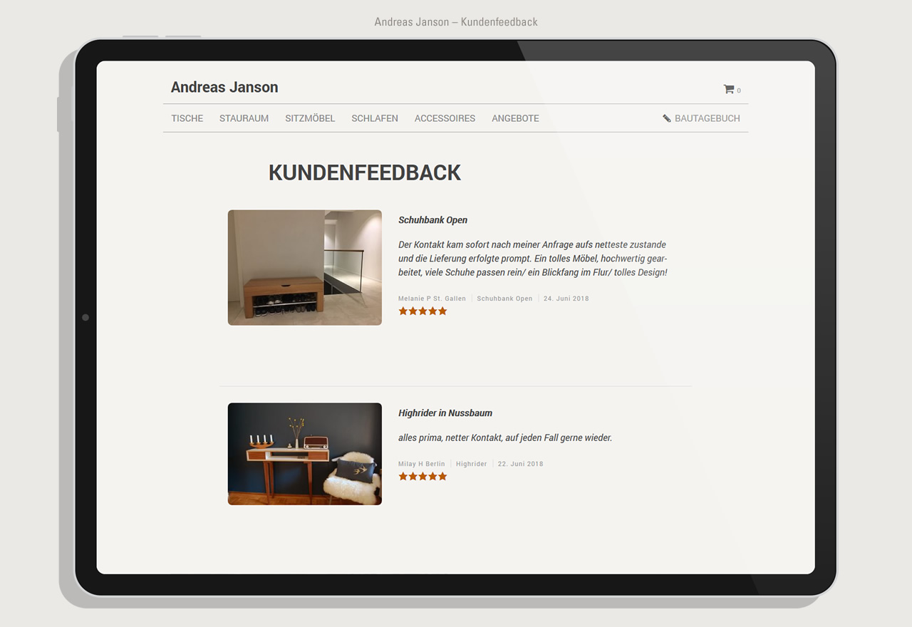 Andreas Janson - Shop Kundenfeedback