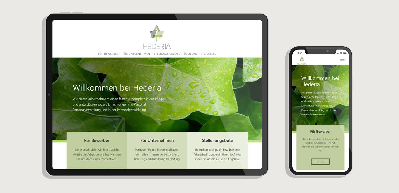 Hederia - Internetseite